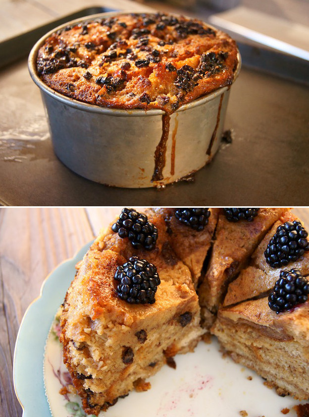 French Toast Bread Pudding in baking pan and sliced on plate with fresh blackberries