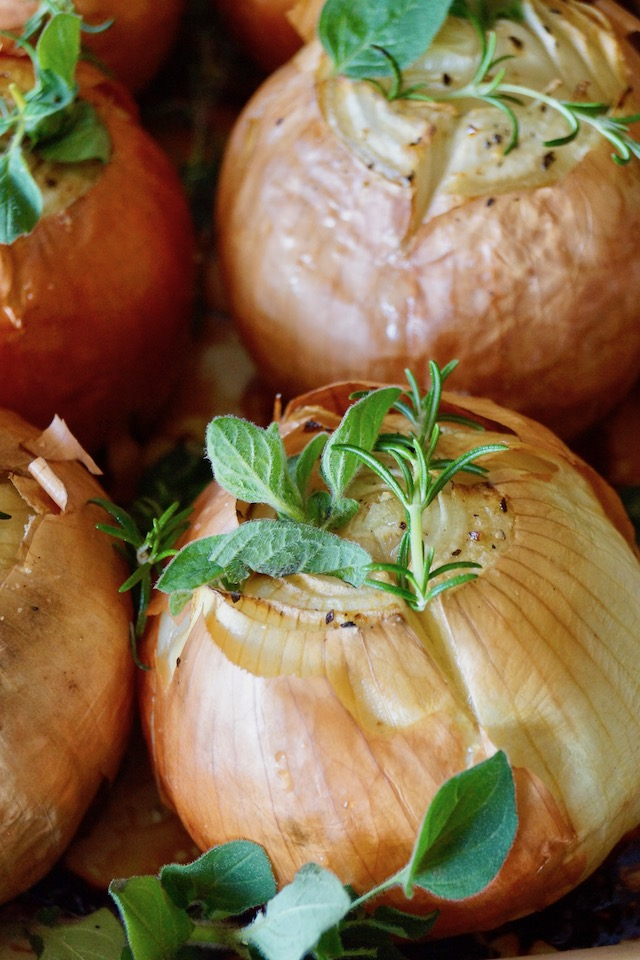 four Whole Roasted Onions with fresh herbs