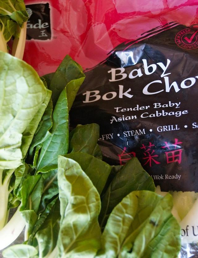 baby bok choy and Jade Asian Greens bag