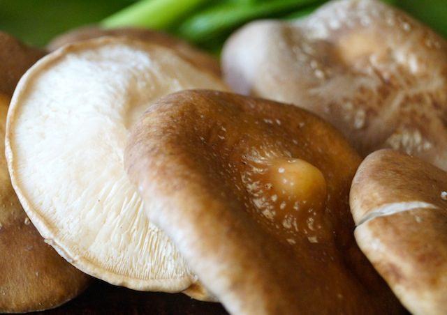 a few fresh, raw Shiitake mushrooms