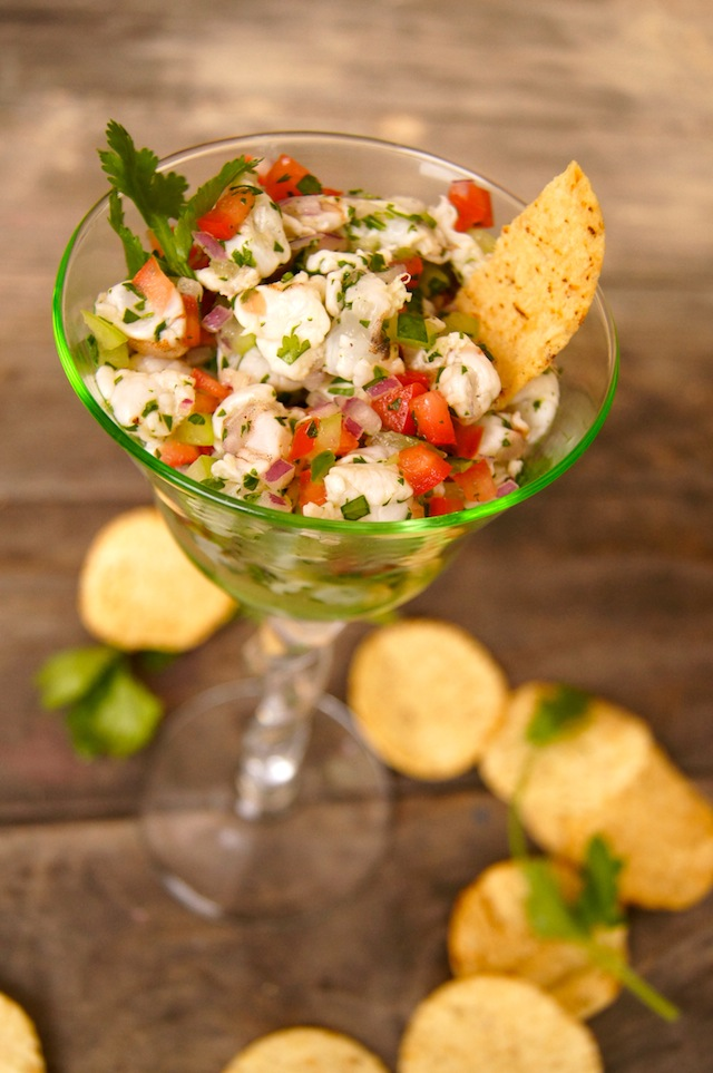 Ceviche in a martini glass with chips