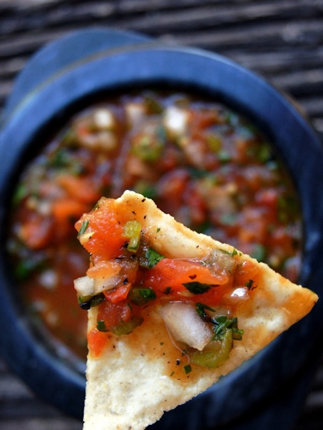 Roasted tomato Poblano salsa on a chip
