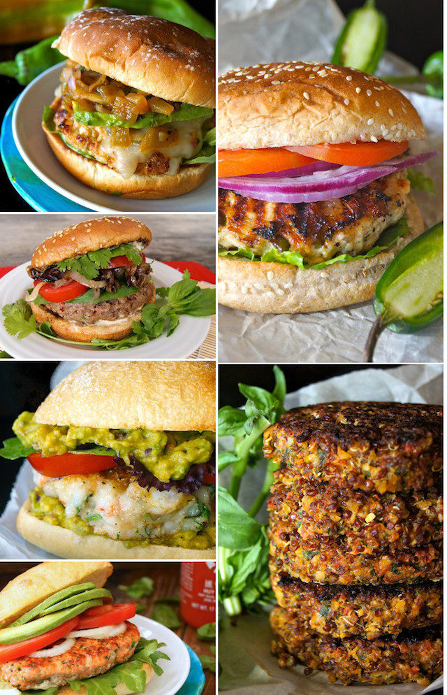 a collage of the Best Burger Recipes for Summer - turkey, lentil, shrimp, and beef