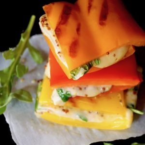 Breadless Sandwich Recipe with Peppers, Ham & Cheese
