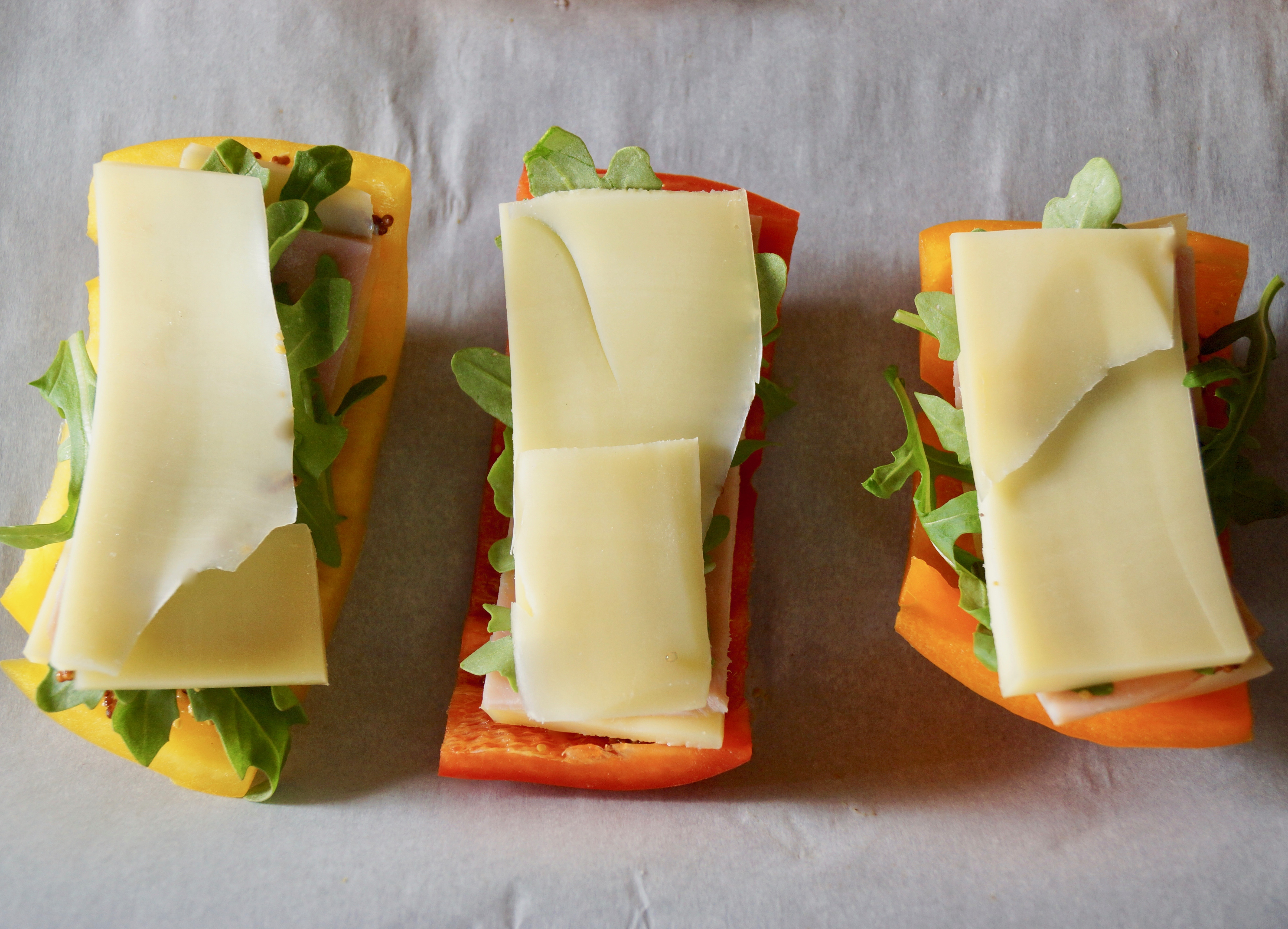 Breadless Bell Pepper 6Grilled Ham and Cheese Sandwich Recipe -- The super fun, breadless sandwich is over-the-top delicious! I made it with peppers because I think it's tasty, and it also happens to be an awesome gluten-free dish!