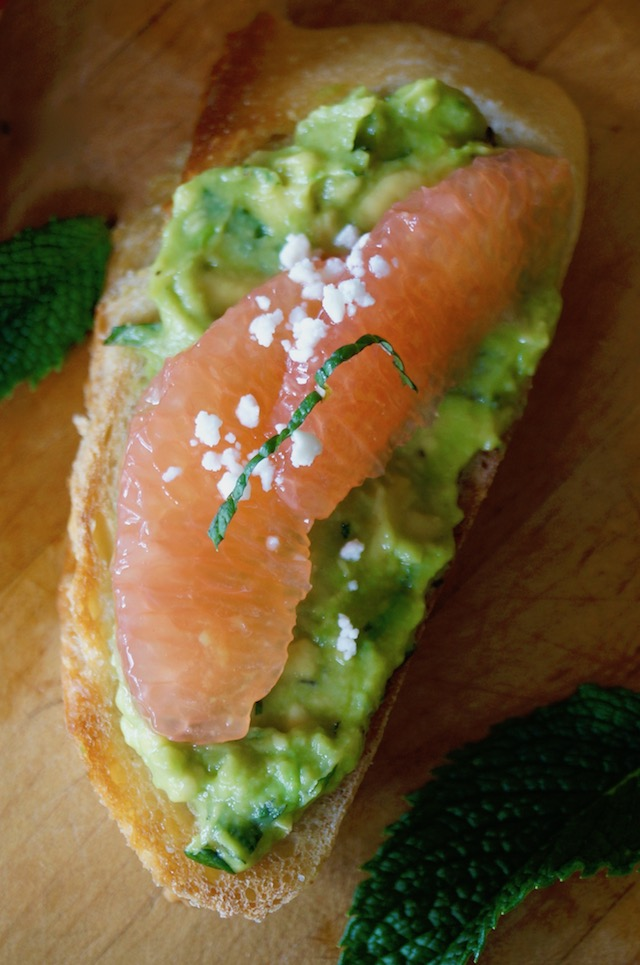 Avocado Toast Recipe with grapefruit and mint on cutting board