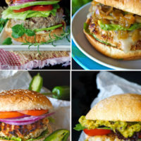 4 images of burgers with turkey, shrimp and beef