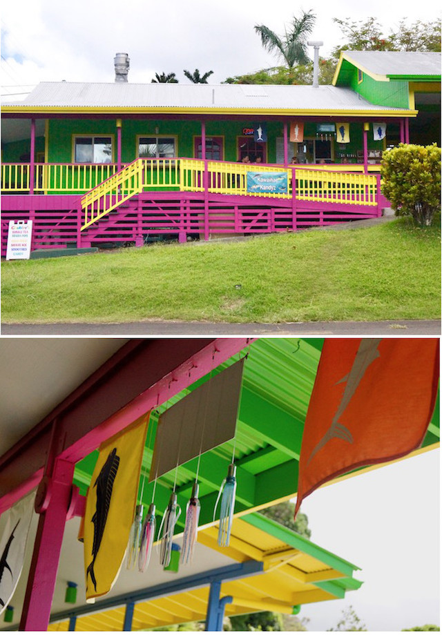 Kawaihae Kandyz in Hawaii on the Big Island, bright pink, green and yellow building