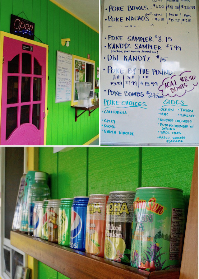 Kawaihae Kandyz in Hawaii on the Big Island, bright green building with bright pink door and menu on white board, and soda cans