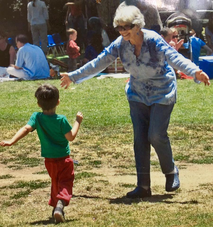my mom and toddler son running to each other