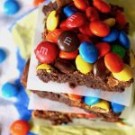 Double Chocolate M&M Brownies Recipes -- These rich and chewy brownies are incredibly decadent, delicious, and are topped with M&M's that are ever so slightly melted on the inside.