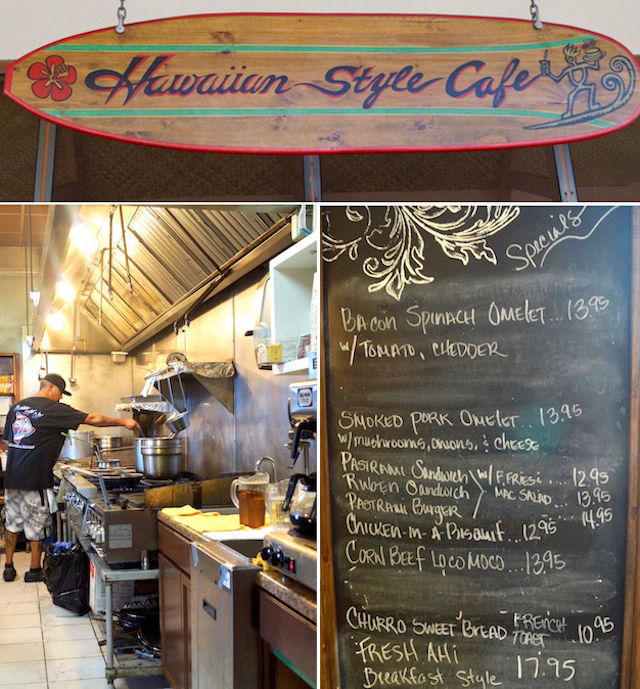 images of kitchen and chalkboard menu inside the Hawaiian Style Restaurant