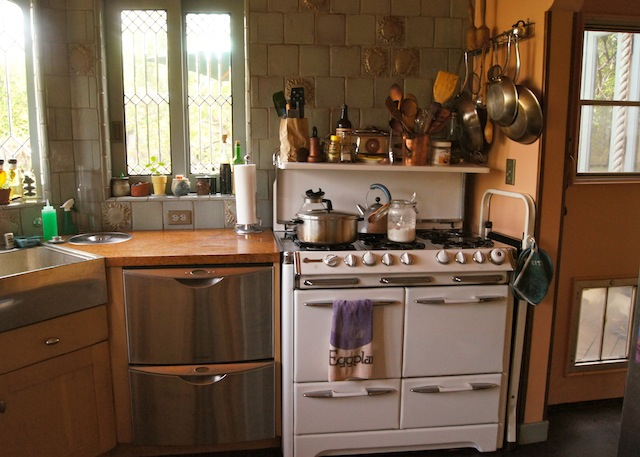 O'keefe & Merritt Stove in beautiful, anitque kitchen