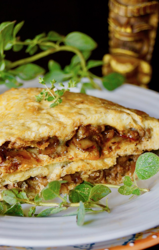 Portuguese Sausage Omelet with fresh oregano sprigs