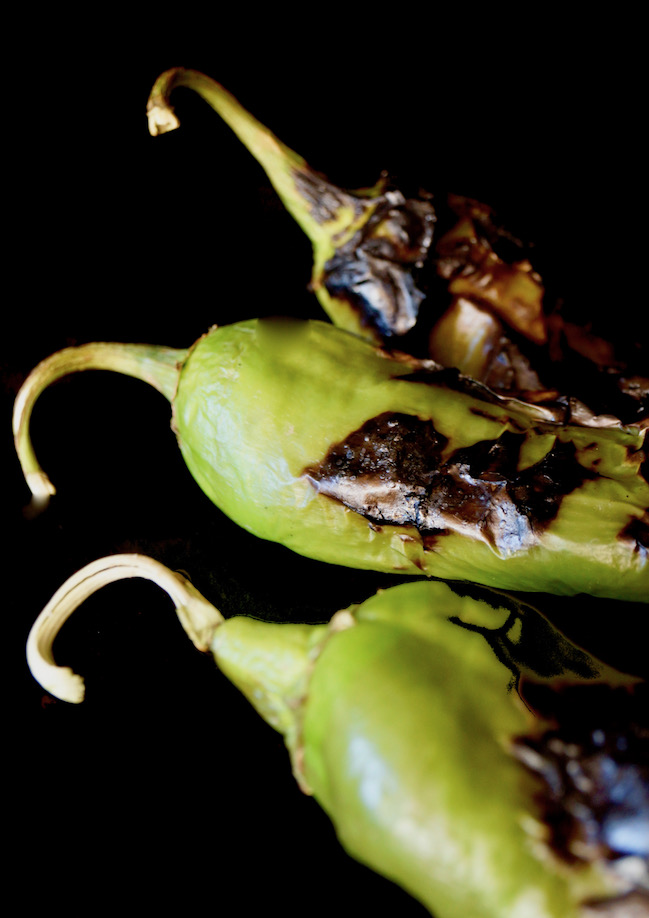 three charred green hatch chiles