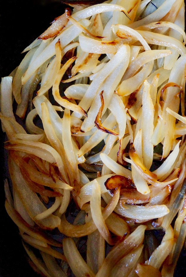 caramelized onions, sliced