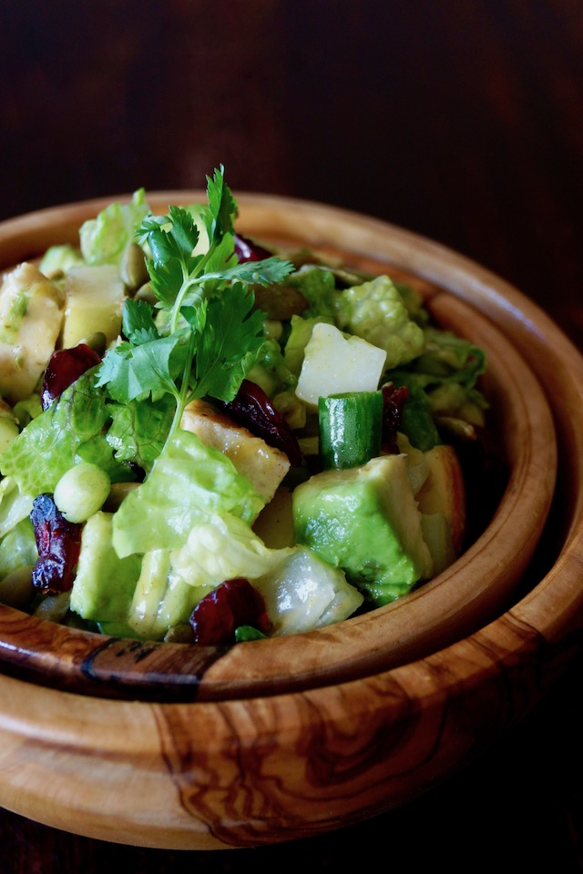 Chicken Apple Salad Recipe with Cranberries in a wooden bowl