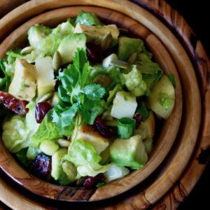 Apple Chicken Salad in wooden bowls