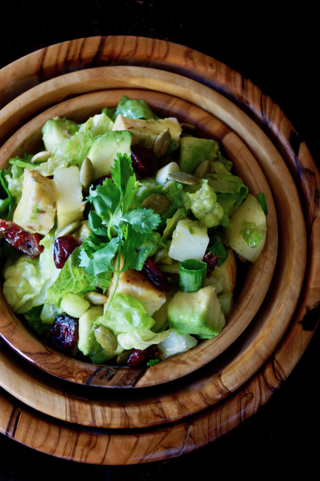 Close up of Chicken Apple Salad Recipe with Cranberries in wooden bowls