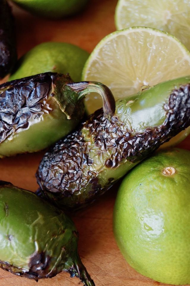 charred jalapenos with limes