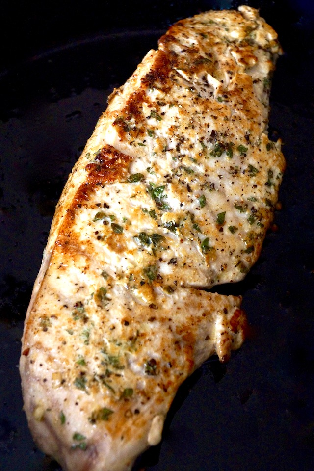 seared ablacore tun loin with finely chopped herbs