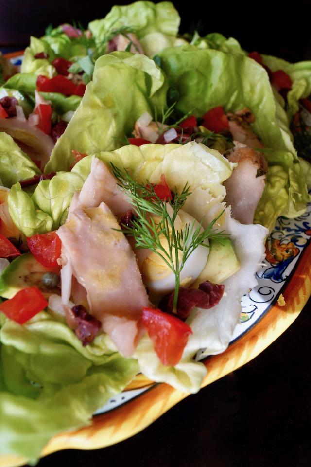 Albacore Nicoise Salad Cups with Honey-Lemon Dressing on pretty Italian platter