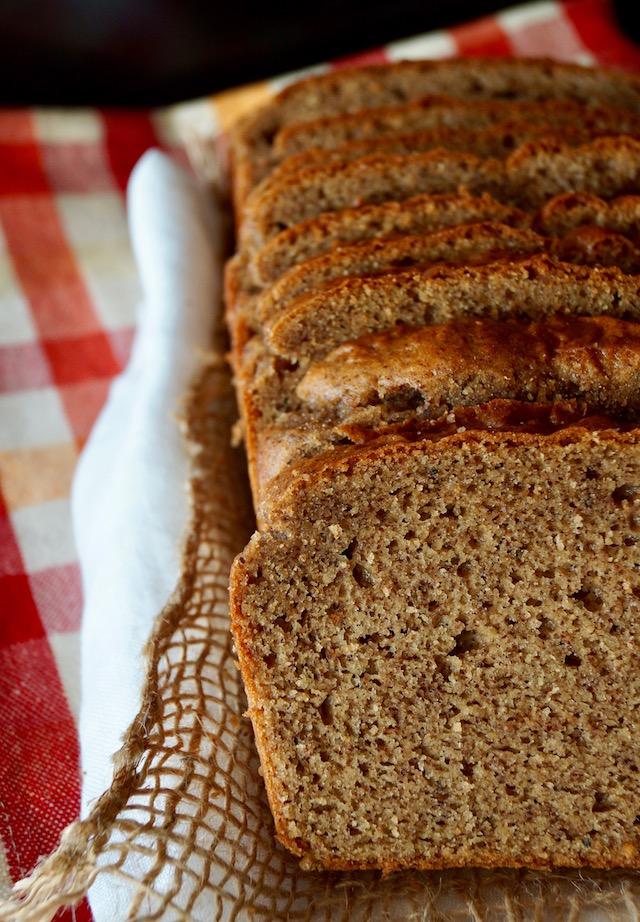 Gluten-Free Almond Nut Butter Bread, sliced