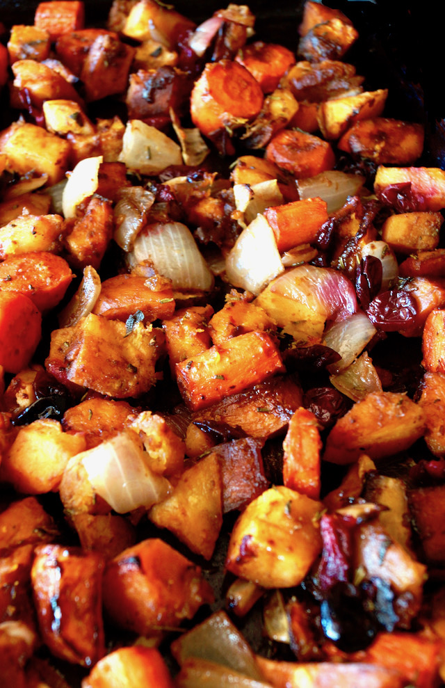 Balsamic-Herb Cranberry Roasted Squash on a sheet pan
