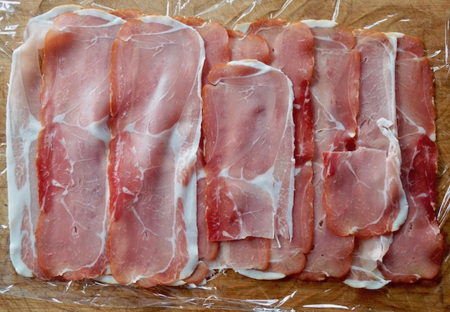 Layered, thin slices of prosciutto