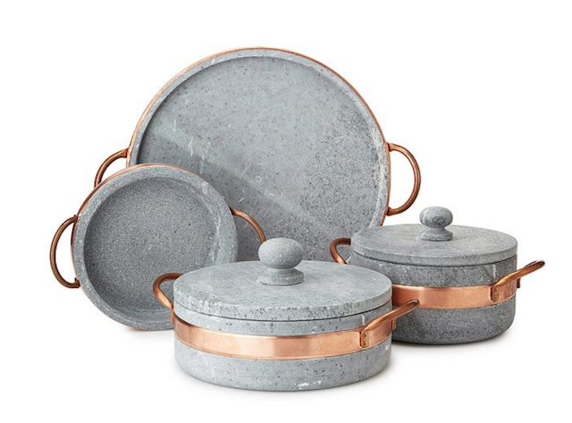 soapstone pots with copper handles from uncommongoods