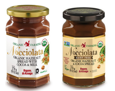two jars of Nocciolata - one with milk and one dairy free