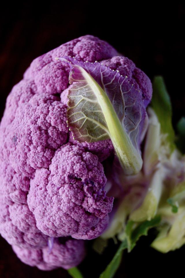 close up of a raw purple cauliflower