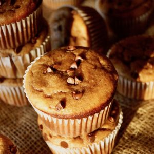 Gluten-Free Peanut Butter Banana Muffins with Chocolate Chips