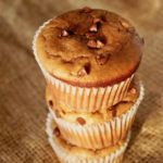 Stack of 3 Banana Peanut Butter Chocolate Chip Muffins