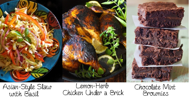 photo collage of three course meal - slaw, roasted chicken and brownies