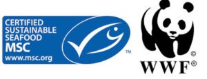 logos of WWF and MSC - a panda and a fish.