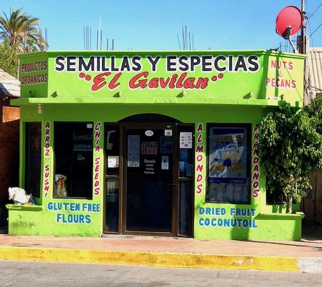 Store front of Semillas y especias El Gavilan in Loreto, Mexico.
