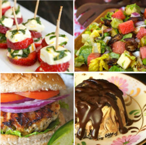 4 photo grid of strawberry caprese, watermelon salad, turkey burger and ice cream pie.
