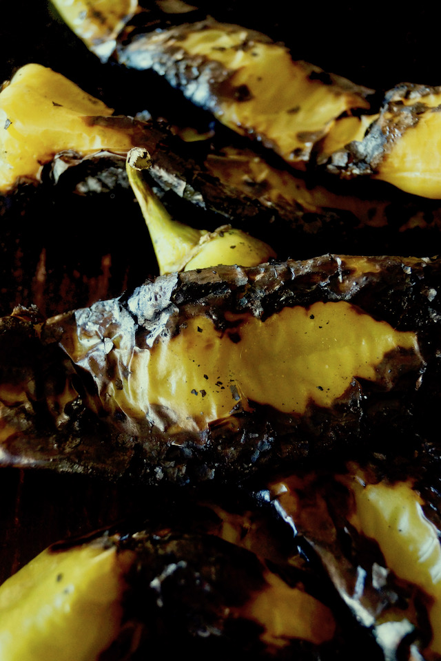 Bundle of charred and roasted Hatch Chiles.