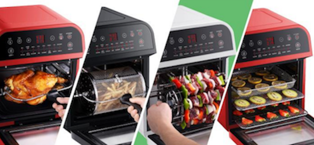 4 air GoWISE USA air fryer ovens in red, white and black.