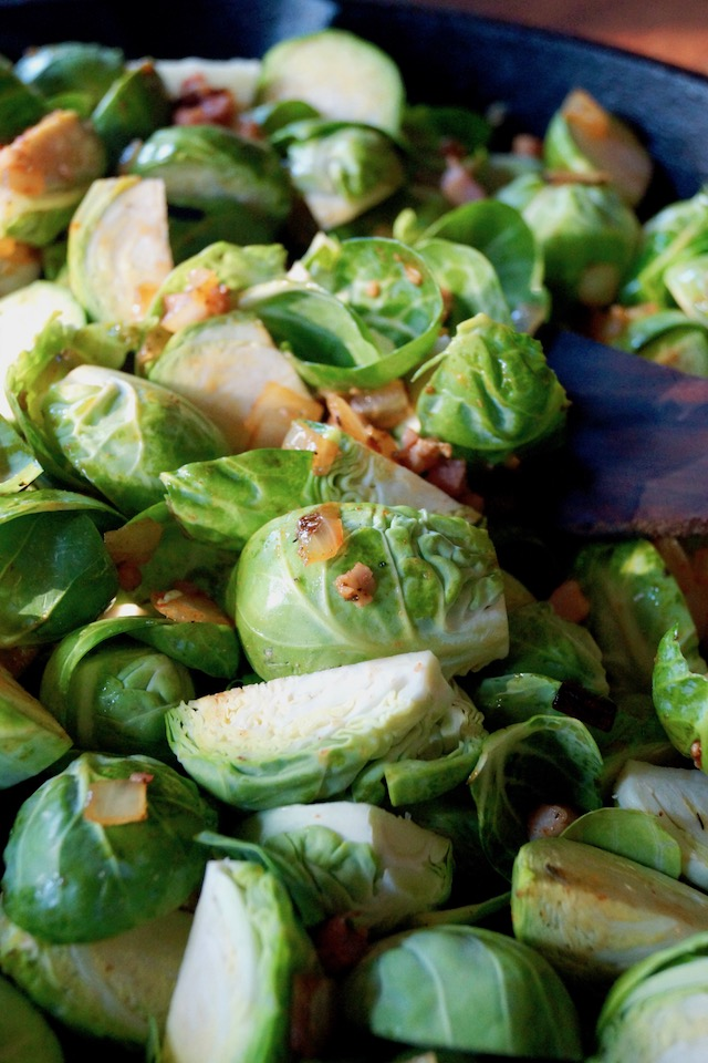 Brussels Sprouts in sauté pan.