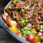 Braised Brisket Stew in a cast iron skillet
