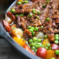 Braised Brisket Stew in a cast iron skillet