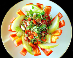 Pear and Gorgonzola Salad held in an fanned enjoya pepper bowl