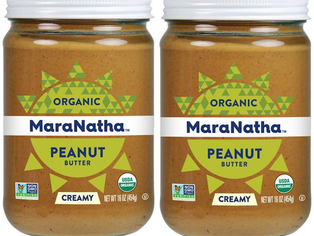two jars of MaraNatha peanut butter