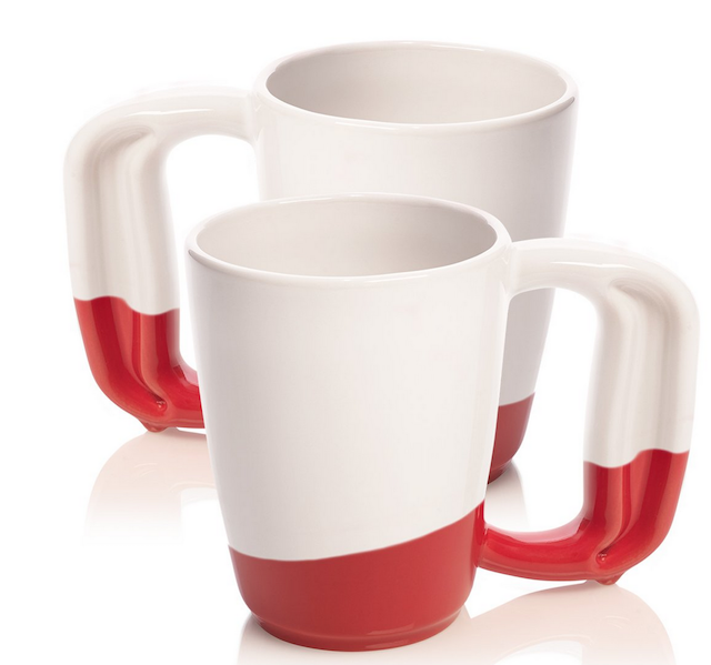 Two white and red coffee mugs