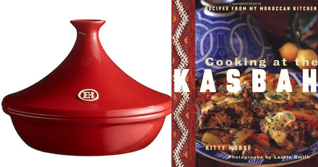 Red tagine next to Taginecookbook