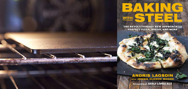 Baking steel in an oven with a cookbook for Baking with Steel next to it.