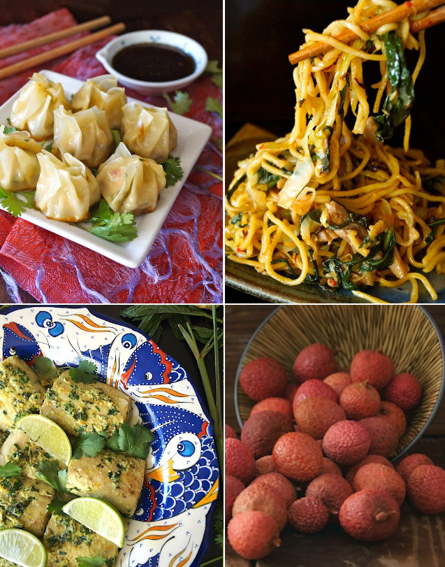 photo grid of 4 photos of Chinese dishes for Chinese New Year