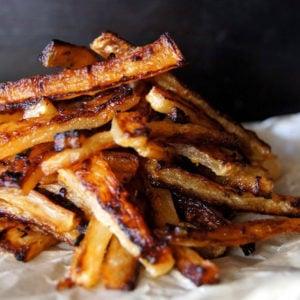 pile of Daikon Frech Fries onparchment